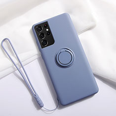 Ultra-thin Silicone Gel Soft Case Cover with Magnetic Finger Ring Stand A01 for Samsung Galaxy S21 Ultra 5G Lavender Gray