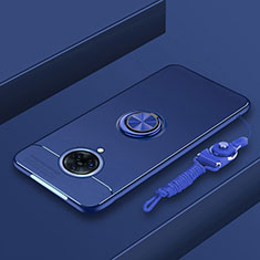 Ultra-thin Silicone Gel Soft Case Cover with Magnetic Finger Ring Stand A01 for Vivo Nex 3 5G Blue