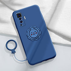 Ultra-thin Silicone Gel Soft Case Cover with Magnetic Finger Ring Stand A01 for Vivo X50 5G Blue