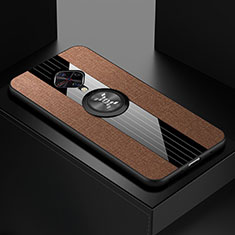 Ultra-thin Silicone Gel Soft Case Cover with Magnetic Finger Ring Stand A01 for Vivo X50 Lite Brown