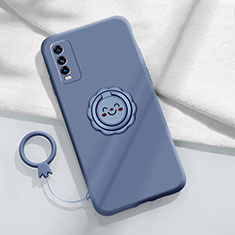 Ultra-thin Silicone Gel Soft Case Cover with Magnetic Finger Ring Stand A01 for Vivo Y12s Lavender Gray
