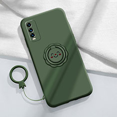 Ultra-thin Silicone Gel Soft Case Cover with Magnetic Finger Ring Stand A01 for Vivo Y20s Midnight Green