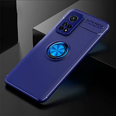 Ultra-thin Silicone Gel Soft Case Cover with Magnetic Finger Ring Stand A01 for Xiaomi Mi 10T 5G Blue
