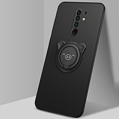 Ultra-thin Silicone Gel Soft Case Cover with Magnetic Finger Ring Stand A01 for Xiaomi Redmi 9 Prime India Black
