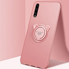 Ultra-thin Silicone Gel Soft Case Cover with Magnetic Finger Ring Stand A02 for Huawei Enjoy 10S Rose Gold