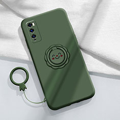 Ultra-thin Silicone Gel Soft Case Cover with Magnetic Finger Ring Stand A02 for Huawei Enjoy 20 Pro 5G Green