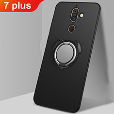 Ultra-thin Silicone Gel Soft Case Cover with Magnetic Finger Ring Stand A02 for Nokia 7 Plus Black