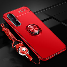 Ultra-thin Silicone Gel Soft Case Cover with Magnetic Finger Ring Stand A02 for Oppo Find X2 Neo Red