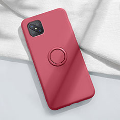 Ultra-thin Silicone Gel Soft Case Cover with Magnetic Finger Ring Stand A02 for Oppo Reno4 Z 5G Red Wine