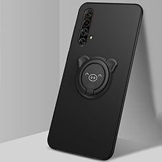 Ultra-thin Silicone Gel Soft Case Cover with Magnetic Finger Ring Stand A02 for Realme X3 SuperZoom Black