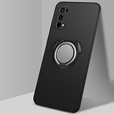 Ultra-thin Silicone Gel Soft Case Cover with Magnetic Finger Ring Stand A02 for Realme X7 Pro 5G Black