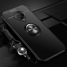 Ultra-thin Silicone Gel Soft Case Cover with Magnetic Finger Ring Stand A02 for Vivo Nex 3 Black