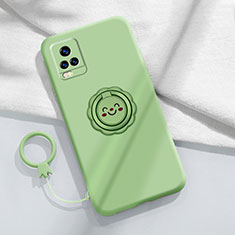Ultra-thin Silicone Gel Soft Case Cover with Magnetic Finger Ring Stand A02 for Vivo V20 Pro 5G Matcha Green
