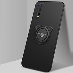 Ultra-thin Silicone Gel Soft Case Cover with Magnetic Finger Ring Stand A02 for Vivo Y12s Black