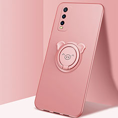 Ultra-thin Silicone Gel Soft Case Cover with Magnetic Finger Ring Stand A02 for Vivo Y20s Rose Gold