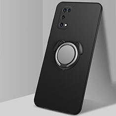 Ultra-thin Silicone Gel Soft Case Cover with Magnetic Finger Ring Stand A03 for Oppo K7x 5G Black