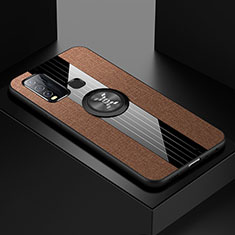 Ultra-thin Silicone Gel Soft Case Cover with Magnetic Finger Ring Stand A04 for Vivo Y50 Brown