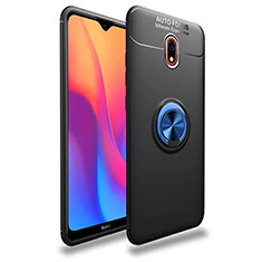 Ultra-thin Silicone Gel Soft Case Cover with Magnetic Finger Ring Stand A04 for Xiaomi Redmi 8A Blue and Black