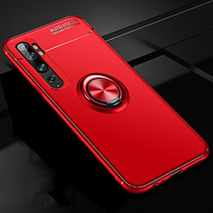 Ultra-thin Silicone Gel Soft Case Cover with Magnetic Finger Ring Stand D02 for Xiaomi Mi Note 10 Red