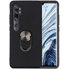 Ultra-thin Silicone Gel Soft Case Cover with Magnetic Finger Ring Stand D04 for Xiaomi Mi Note 10 Pro Black