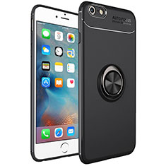 Ultra-thin Silicone Gel Soft Case Cover with Magnetic Finger Ring Stand for Apple iPhone 6S Plus Black