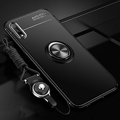 Ultra-thin Silicone Gel Soft Case Cover with Magnetic Finger Ring Stand for Huawei Enjoy 10 Black