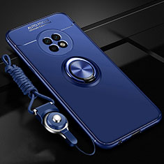 Ultra-thin Silicone Gel Soft Case Cover with Magnetic Finger Ring Stand for Huawei Enjoy 20 Plus 5G Blue