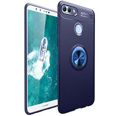 Ultra-thin Silicone Gel Soft Case Cover with Magnetic Finger Ring Stand for Huawei Enjoy 8 Plus Blue