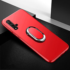 Ultra-thin Silicone Gel Soft Case Cover with Magnetic Finger Ring Stand for Huawei Honor 20 Red