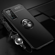 Ultra-thin Silicone Gel Soft Case Cover with Magnetic Finger Ring Stand for Huawei Honor 30 Pro Black