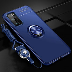 Ultra-thin Silicone Gel Soft Case Cover with Magnetic Finger Ring Stand for Huawei Honor 30 Pro Blue