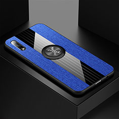 Ultra-thin Silicone Gel Soft Case Cover with Magnetic Finger Ring Stand for Huawei Honor 9X Blue