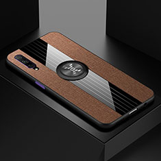 Ultra-thin Silicone Gel Soft Case Cover with Magnetic Finger Ring Stand for Huawei Honor 9X Pro Brown