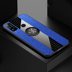 Ultra-thin Silicone Gel Soft Case Cover with Magnetic Finger Ring Stand for Huawei Honor Play4T Blue
