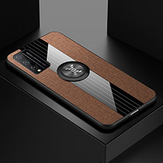 Ultra-thin Silicone Gel Soft Case Cover with Magnetic Finger Ring Stand for Huawei Honor Play4T Pro Brown