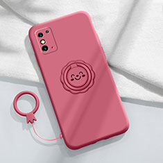 Ultra-thin Silicone Gel Soft Case Cover with Magnetic Finger Ring Stand for Huawei Honor X10 Max 5G Red Wine
