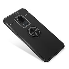 Ultra-thin Silicone Gel Soft Case Cover with Magnetic Finger Ring Stand for Huawei Mate 20 Black
