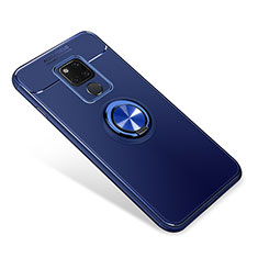 Ultra-thin Silicone Gel Soft Case Cover with Magnetic Finger Ring Stand for Huawei Mate 20 Blue