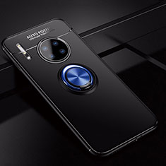 Ultra-thin Silicone Gel Soft Case Cover with Magnetic Finger Ring Stand for Huawei Mate 30 Pro 5G Blue