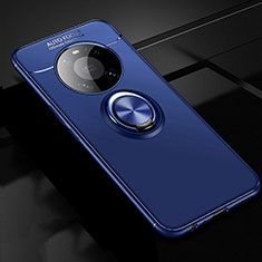 Ultra-thin Silicone Gel Soft Case Cover with Magnetic Finger Ring Stand for Huawei Mate 40 Blue