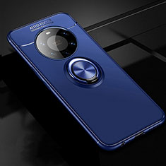 Ultra-thin Silicone Gel Soft Case Cover with Magnetic Finger Ring Stand for Huawei Mate 40 Pro+ Plus Blue