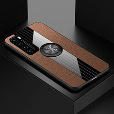 Ultra-thin Silicone Gel Soft Case Cover with Magnetic Finger Ring Stand for Huawei Nova 7 5G Brown