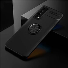 Ultra-thin Silicone Gel Soft Case Cover with Magnetic Finger Ring Stand for Huawei P Smart (2021) Black