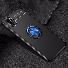 Ultra-thin Silicone Gel Soft Case Cover with Magnetic Finger Ring Stand for Huawei P30 Pro Blue and Black