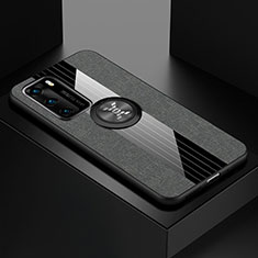 Ultra-thin Silicone Gel Soft Case Cover with Magnetic Finger Ring Stand for Huawei P40 Gray