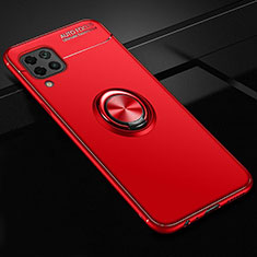 Ultra-thin Silicone Gel Soft Case Cover with Magnetic Finger Ring Stand for Huawei P40 Lite Red