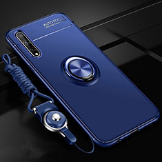 Ultra-thin Silicone Gel Soft Case Cover with Magnetic Finger Ring Stand for Huawei Y8p Blue