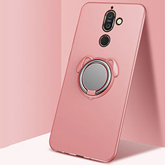 Ultra-thin Silicone Gel Soft Case Cover with Magnetic Finger Ring Stand for Nokia 7 Plus Rose Gold