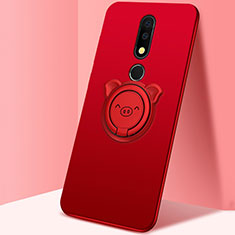 Ultra-thin Silicone Gel Soft Case Cover with Magnetic Finger Ring Stand for Nokia X5 Red
