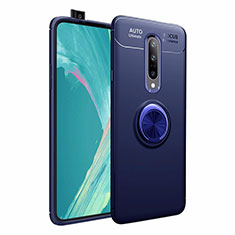 Ultra-thin Silicone Gel Soft Case Cover with Magnetic Finger Ring Stand for OnePlus 7 Pro Blue